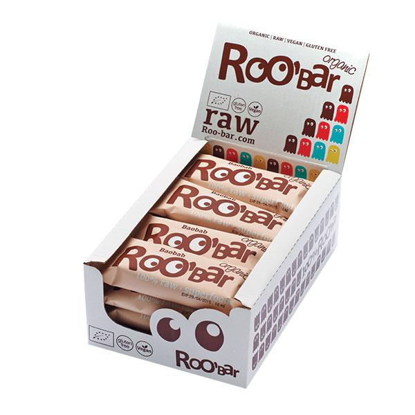 Roo´bar Raw Energy Bar Baobab Andgringer 50gr X 16